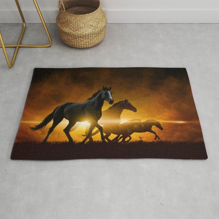 Wild Black Horses Rug