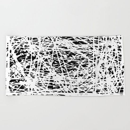 Whispers In the Dark - Black and White Abstract Beach Towel