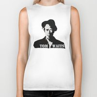 tom waits Biker Tanks featuring Tom Waits Painting by All Surfaces Design