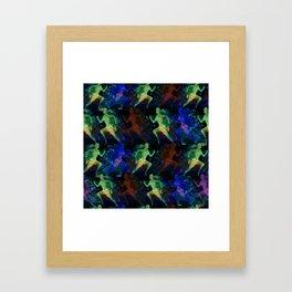 Watercolor women runner pattern on dark background Framed Art Print