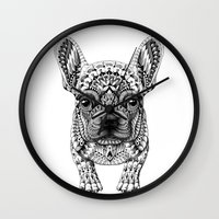 bioworkz Wall Clocks featuring Frenchie by BIOWORKZ