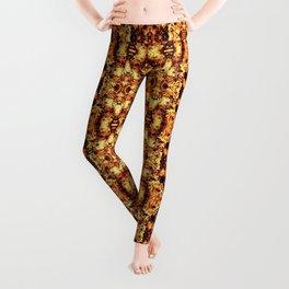 Brown Yellow  Flower Pattern Leggings