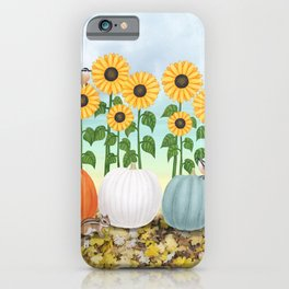 chipmunk, red breasted nuthatches, heirloom pumpkins, & sunflowers iPhone Case