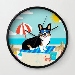 Tri Corgi Sandcastles Summer Beach Day sun corgi art tricolored corgi dog Wall Clock