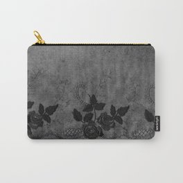 Pure elegance- Black floral luxury lace on dark grunge backround Carry-All Pouch
