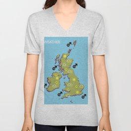 British vintage style television weather map Unisex V-Neck