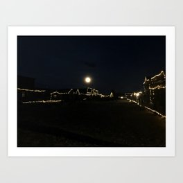 Supermoon Over Old Trail Town Art Print