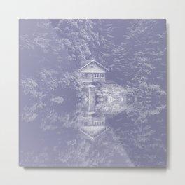 boathouse phantom violet tone washed out effect aesthetic landscape art photography Metal Print