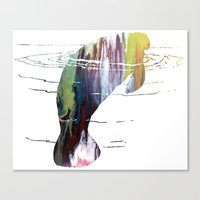 manatee Canvas Prints featuring manatee  by FurittusDesigns
