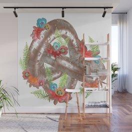 Elegant Rose Gold Metal Geometric Knot Wall Mural