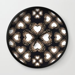 Clover Hearts Black, White, and Rose-Gold Mandala Textile Wall Clock
