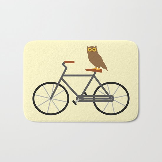 Owl Riding Bike Bath Mat