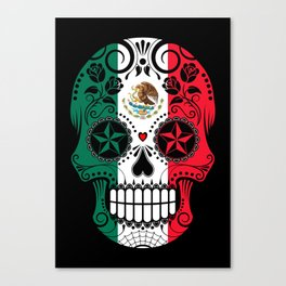 Sugar Skull with Roses and Flag of Mexico Canvas Print