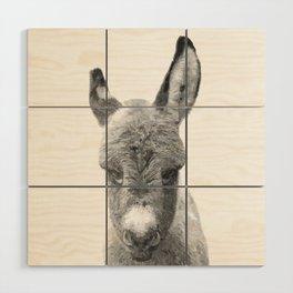 Black and White Baby Donkey Wood Wall Art