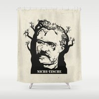 nietzsche Shower Curtains featuring NICHE-TZSCHE by science fried art