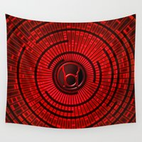 green lantern Wall Tapestries featuring RED LANTERN by BeautyArtGalery