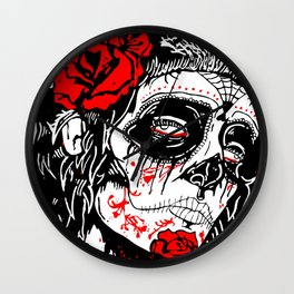 Girl With Sugar Skull, Day of the Dead Wall Clock