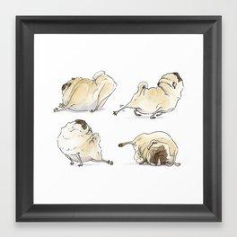 Four Pug Poses - Pug Yoga Framed Art Print