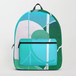 Turquoise Green Ombré Circle Abstract Design 2 Backpack