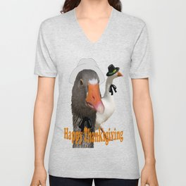 Happy Thanksgiving Pilgrims Unisex V-Neck