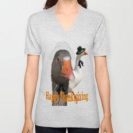 Happy Thanksgiving Pilgrims Unisex V-Neck