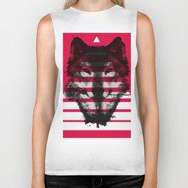 Red wolf white 4 Biker Tank