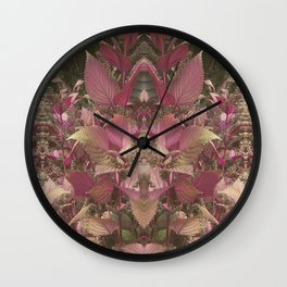 Red Shiso Warm Tones Pattern Wall Clock