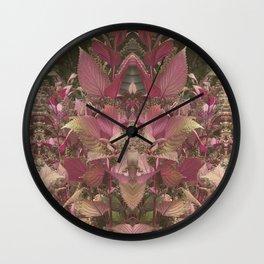Red Shiso Warm Tones Pattern Wall Clock