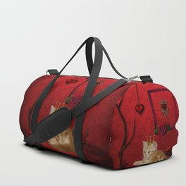 Cute little kitten with crown Duffle Bag