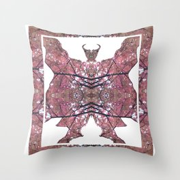 Horned Man V2 cut from Tree Leaf Photo 801 Fractal, with wings and hoofed feet. Throw Pillow