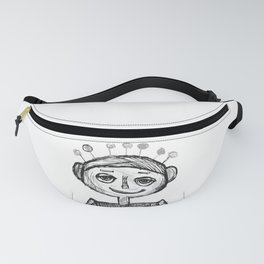 Little robot white and black drawing Fanny Pack