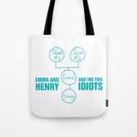 regina mills Tote Bags featuring Regina Sassy Mills | The two idiots by CLM Design