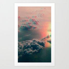 glitched clouds Art Print