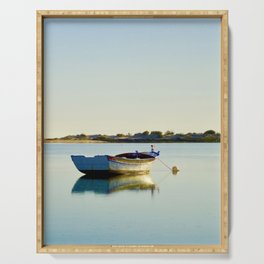 Boat anchored in a sheltered inlet in the Ria Formosa, Portugal Serving Tray
