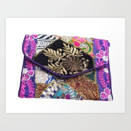 Vintage Gypsy Handmade Tribal Clutch Bag Art Print