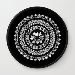 Black and White Lotus Mandala Wall Clock