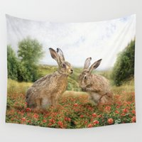 hare Wall Tapestries featuring Spring Hare by Trudi Simmonds
