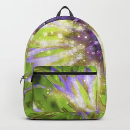 Purple Green Abstract Flower Backpack