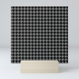 Black and Grey Classic houndstooth pattern Mini Art Print