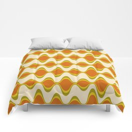 Retro Psychedelic Wavy Pattern in Orange, Yellow, Olive Comforters