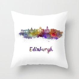 Edinburgh skyline in watercolor Throw Pillow