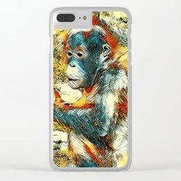 AnimalArt_OrangUtan_20170906_by_JAMColors Clear iPhone Case