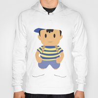 earthbound Hoodies featuring Ness - Earthbound - Super Smash Brothers - Minimalist by Adrian Mentus