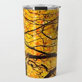 Golden Veins Of Autumn Travel Mug