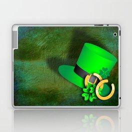 Symbols of luck on green textured background Laptop & iPad Skin