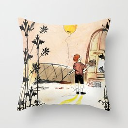 the boy with the globe Throw Pillow