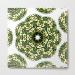 Little White Wildflower Kaleidoscope Art 2 Metal Print