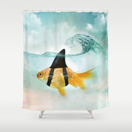 Goldfish with a Shark Fin, wave Shower Curtain