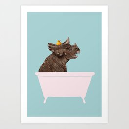 Playful Triceratop in Bathtub Art Print