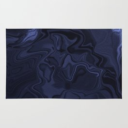 Blue and Black Abstract Artwork Rug